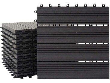 MCW WPC-Fliesen »Sarthe«, Set, 11 St., bestehend aus 11x je 30x30cm = 1qm, Witterungs- und UV-Beständig, Holzoptik, Hitze- und Kälteisolierend, schwarz, Basis