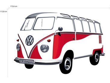 VW Collection by BRISA Wandtattoo »VW Bulli T1«, rot, Classic Rot