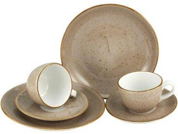 CreaTable Geschirr-Set »VINTAGE NATURE« (6-tlg), Porzellan, handgemalt, gesprenkelt, grau, taupe
