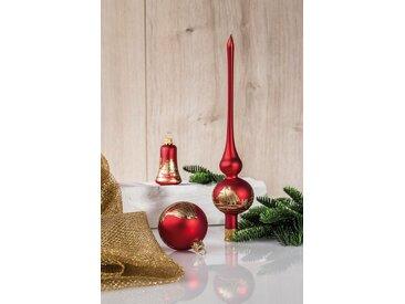 HGD Holz-Glas-Design Glaskugelsortiment Dekor 39teilig, rot, Rot/Gold