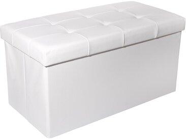 Zedelmaier Sitzbank » Sitzbank Sitztruhe faltbar mit Stauraum belastbar bis 300 kg 76 x 38 x 38 cm«, Kunstleder-Weiß