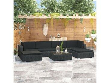 vidaXL Gartenmöbelset » 7-tlg. Garten-Lounge-Set mit Auflagen Poly Rattan Schwarz«