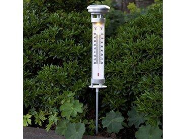 STAR TRADING Dekolicht »LED Solar Thermometer CELSIUS für Garten H: 57,5cm Dämmerungssensor silber«