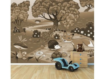 Bilderdepot24 Deco-Panel, Fototapete - Kinderbild Tiere im Wald, bunt, Sephia