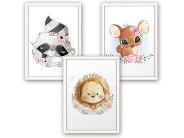 Kreative Feder Poster, Löwe, Waschbär, Reh, Kinderzimmer, Zeichnung, niedlich, Tierbabys (Set, 3 Stück), 3-teiliges Poster-Set, Kunstdruck, Wandbild, wahlw. in DIN A4 / A3, 3-WP031