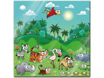 Bilderdepot24 Glasbild, Glasbild - Kinderbild - Dschungeltiere Cartoon I