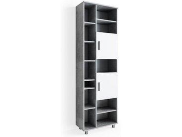 Vicco Hochschrank »Badschrank ILIAS 190 x 60 cm Weiß Beton - Regal Badregal«