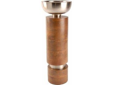 Kerzenleuchter (1 Stück), aus Holz und Aluminium, Ø ca. 12 cm