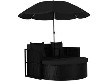 vidaXL Gartenstuhl » Gartenbett mit Sonnenschirm Poly Rattan Schwarz«