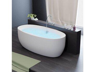 TroniTechnik Badewanne »Freistehende Badewanne Dokos«, (1-tlg), aus glasfaserversärktem Acryl, mit Überlauf-Ablauf und Push-to-open Abfluss