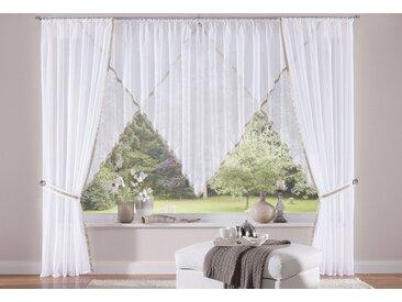 my home Gardine »Volano«, Kräuselband (2 Stück), Vorhang, Fertiggardine, transparent, weiß, weiß