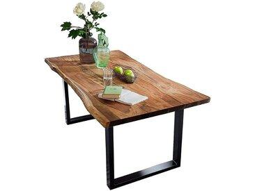 SAM® Baumkantentisch »Quarto«, Akazie Massivholz nussbaumfarben 26mm natürliche Baumkante, schwarz, 120x80
