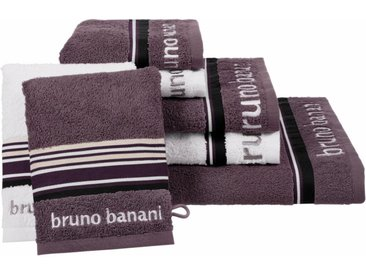Bruno Banani Handtuch Set »Maja« (Set, 7-tlg), mit farbiger Bordüre, grau, anthrazit-weiß