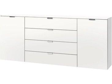 Express Solutions Kombikommode, Breite 180 cm, weiß, weiß, Griffe alufarben matt