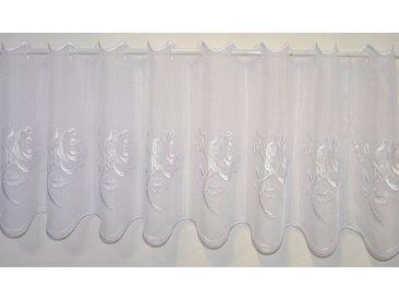 Stickereien Plauen Scheibengardine »Rosentraum«, Stangendurchzug (1 Stück), weiß, weiß