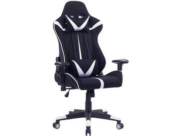 Woltu Gaming-Stuhl »BS38«, Bürostuhl aus Stoffbezug mit Kopf und Lendenkissen, weiß, weiß