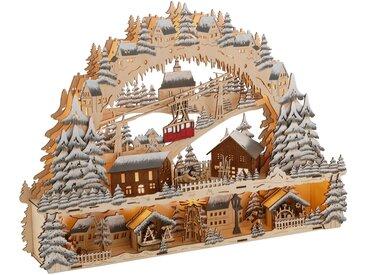 Schwibbogen »LED Weihnachtsleuchter mit Podest und Seilbahn, Skihütte und Weihnachsmarkt«, Breite ca. 64 cm