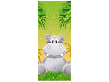 Bilderdepot24 Deco-Panel, Türaufkleber - Kinderbild Hippo
