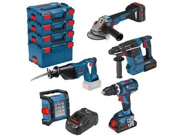 Bosch Professional Elektrowerkzeug-Set »GSR & GWS & GBH«, 5-tlg., inkl. 3 Akkus, Ladegerät und Tasche
