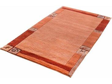 LUXOR living Wollteppich »India«, rechteckig, Höhe 20 mm, handgeknüpft, mit Bordüre, orange, terra