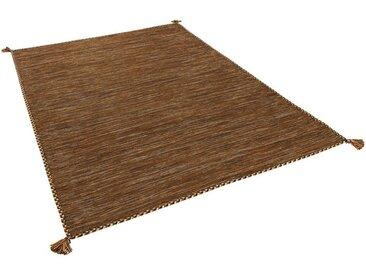 Pergamon Wollteppich »Natur Teppich Kelim Prico«, Rechteckig, Höhe 8 mm, braun, Dunkelbraun