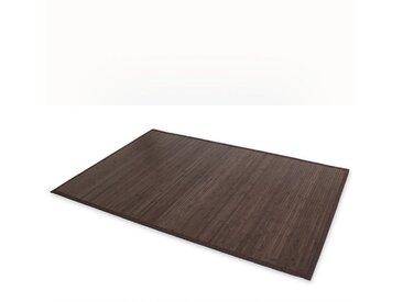 Homestyle4u Teppich, quadratisch, Höhe 17 mm, Bambusteppich, Bambusmatte, verschiedene Farben, schwarz, dunkelbraun