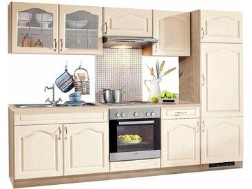 wiho Küchen Küchenzeile »Linz«, mit E-Geräten, Breite 270 cm, mit Edelstahl-Kochmulde, natur, vanille-eiche