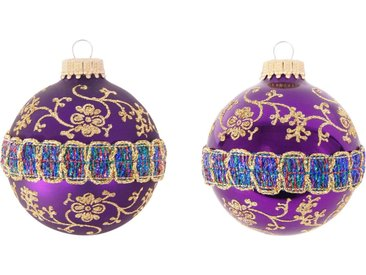 Krebs Glas Lauscha Weihnachtsbaumkugel »CBK90230« (4 Stück), mit Glitterband & Borte