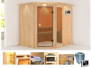 KONIFERA Sauna »Antero 2«, 210x184x202 cm, 9 kW Bio-Ofen mit ext. Strg., mit Dachkranz, natur, 9 kW Bio-Ofen mit externer Steuerung, natur