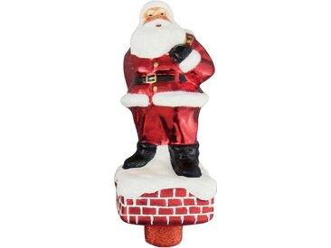 Krebs Glas Lauscha Christbaumspitze »Santa auf Schornstein«, handdekoriert
