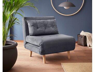 my home Daybett, mit ausziehbaren Metallstützbeinen, Schlafsessel in zwei Größen erhältlich, modernes Gästebett, grau, Breite: 77 cm, grau
