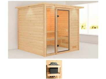 Karibu KARIBU Sauna »Jackie«, 224x210x191 cm, ohne Ofen, Dachkranz, natur, ohne Ofen, natur