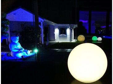 TRANGO LED Kugelleuchte, 1er Set SO-002 IP44 LED-Solarleuchte in 25cm Durchmesser Weiß matt mit 3000K warmweiß LED & RGB Farbwechsel LED *SNOWY* Solarkugel Leuchte Leuchtkugel, Außenleuchte, Kugellampe