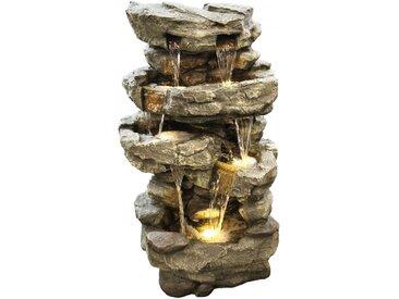 Gartenbrunnen Wasserfall XXL - Dekobrunnen mit warmweißer LED Beleuchtung, ca. 96 x 50 x 38 cm, grau / Steinoptik