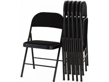 RABURG PREMIUM Klappstuhl 6er Set ELIAS - STOFFBEZUG, stabiles Faltstuhl/Gästestuhl-Set aus Stahl, SCHWARZ