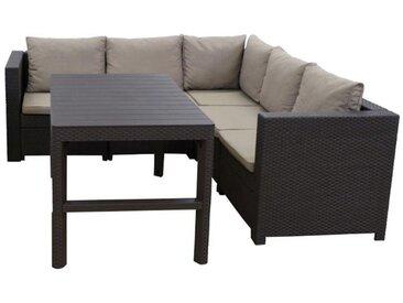 Keter Lounge Set Provence 2-teilig Premium Panama braun mit Kissen cappuchino und höhenv. Tisch