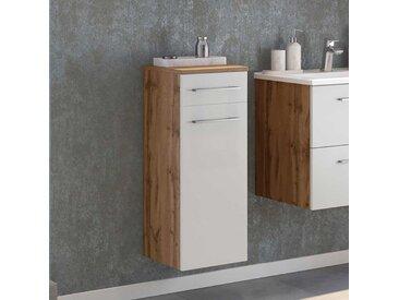 Badezimmer Unterschrank in Weiß und Wildeiche Optik 30 cm breit