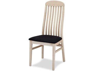 Hochlehner aus Eiche massiv weiß geölt schwarzer gepolsterter Sitzfläche (2er Set)