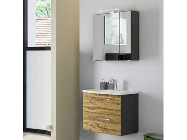 Spiegelschrank und Waschtisch in Wildeiche Optik und Dunkelgrau modern (zweiteilig)