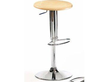 Küchenhocker aus Metall runder Sitzfläche in Buchefarben