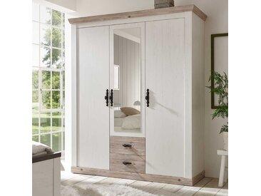 Drehtürenkleiderschrank in Weiß und Piniefarben Spiegeltür