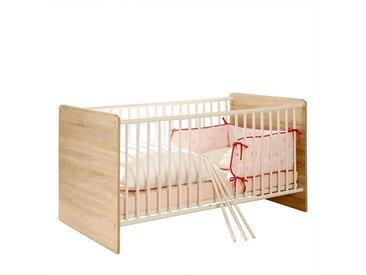 Baby Gitterbett in Weiß und Eiche Sonoma 80 cm hoch