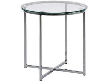 Runder Beistelltisch 50 cm hoch aus Glas und Metall