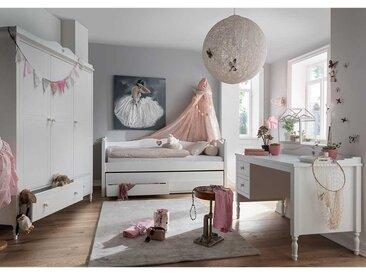 Mädchen Jugendzimmer in Weiß Herz Motiven verziert (3-teilig)