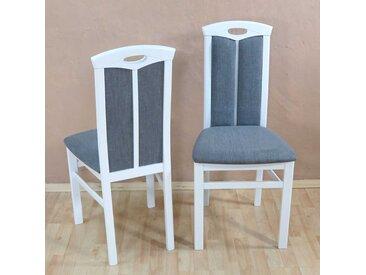 Holzstuhl Set in Weiß und Grau Buche Massivholz (2er Set)