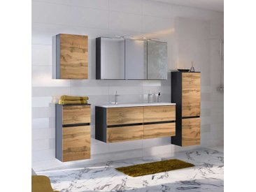 Design Badezimmer Set mit Doppel Waschtisch Wildeiche Optik und Anthrazit (5-teilig)