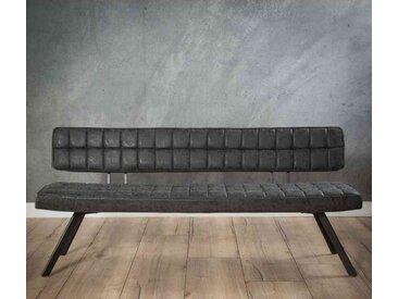 Esszimmersitzbank in Kunstleder Schwarz 4-Fußgestell aus Stahl