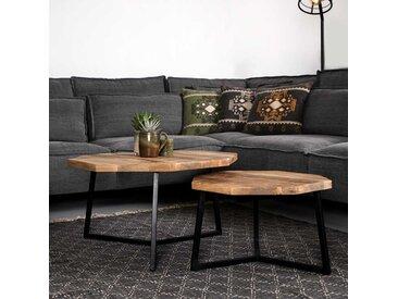 Couchtisch Set aus Mangobaum Massivholz und Eisen Loft Design (2-teilig)