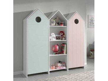 Kinderzimmerkleiderschrank Set in Mintgrün und Rosa Regal in Weiß (dreiteilig)
