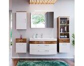 Badezimmer Kombination in Weiß Hochglanz Walnuss kaufen (fünfteilig)